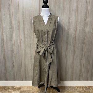 Malvin 100% linen Button Down Midi Dress